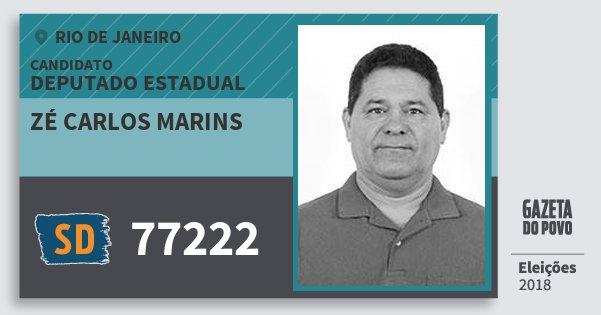 Santinho Zé Carlos Marins 77222 (SOLIDARIEDADE) Deputado Estadual | Rio de Janeiro | Eleições 2018