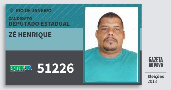 Santinho Zé Henrique 51226 (PATRI) Deputado Estadual   Rio de Janeiro   Eleições 2018