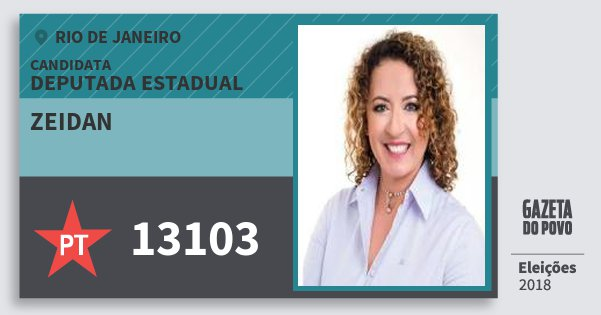 Santinho Zeidan 13103 (PT) Deputada Estadual | Rio de Janeiro | Eleições 2018