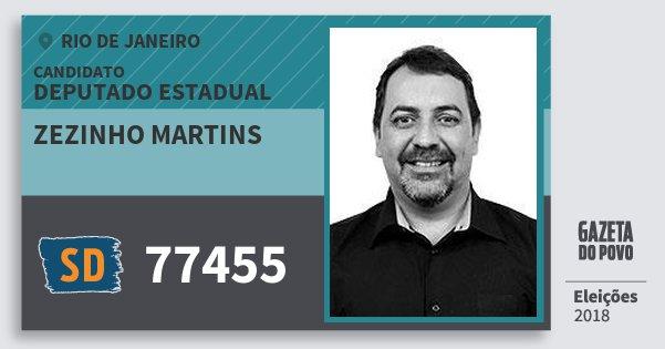 Santinho Zezinho Martins 77455 (SOLIDARIEDADE) Deputado Estadual | Rio de Janeiro | Eleições 2018