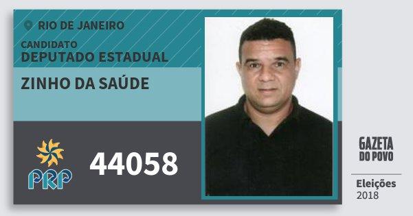 Santinho Zinho da Saúde 44058 (PRP) Deputado Estadual | Rio de Janeiro | Eleições 2018