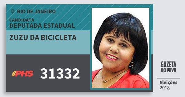 Santinho Zuzu da Bicicleta 31332 (PHS) Deputada Estadual | Rio de Janeiro | Eleições 2018