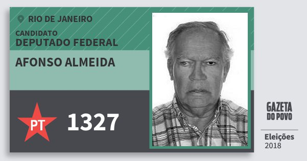 Santinho Afonso Almeida 1327 (PT) Deputado Federal | Rio de Janeiro | Eleições 2018