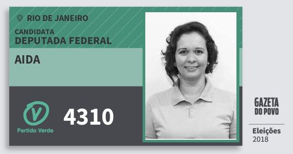 Santinho Aida 4310 (PV) Deputada Federal | Rio de Janeiro | Eleições 2018