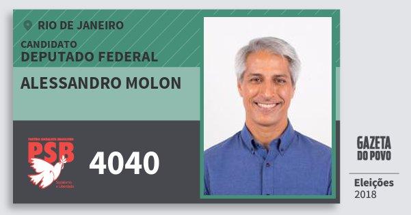Santinho Alessandro Molon 4040 (PSB) Deputado Federal | Rio de Janeiro | Eleições 2018