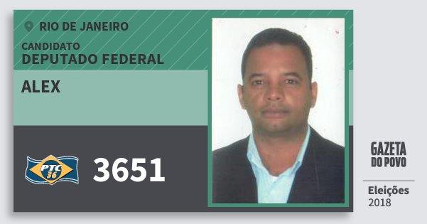 Santinho Alex 3651 (PTC) Deputado Federal | Rio de Janeiro | Eleições 2018