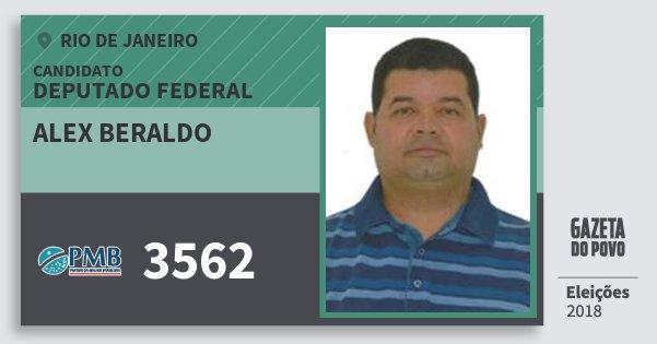 Santinho Alex Beraldo 3562 (PMB) Deputado Federal | Rio de Janeiro | Eleições 2018
