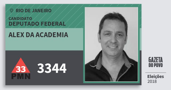 Santinho Alex da Academia 3344 (PMN) Deputado Federal | Rio de Janeiro | Eleições 2018