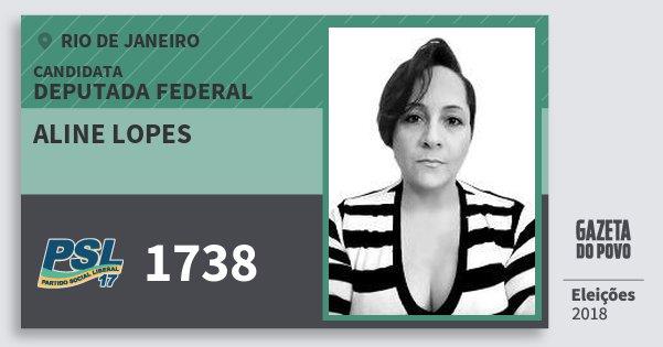 Santinho Aline Lopes 1738 (PSL) Deputada Federal | Rio de Janeiro | Eleições 2018