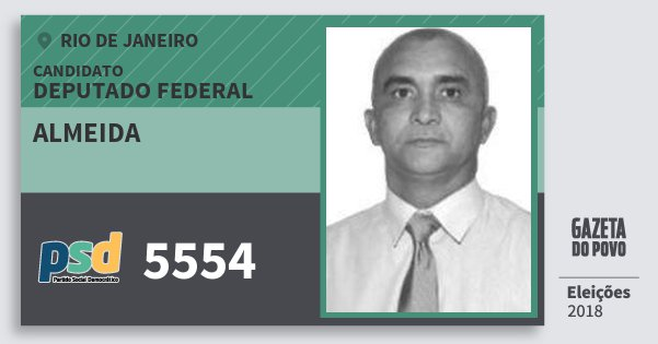 Santinho Almeida 5554 (PSD) Deputado Federal | Rio de Janeiro | Eleições 2018