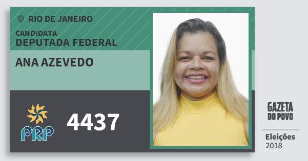 Santinho Ana Azevedo 4437 (PRP) Deputada Federal | Rio de Janeiro | Eleições 2018