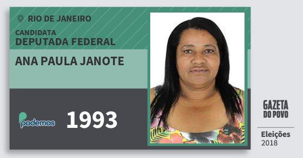 Santinho Ana Paula Janote 1993 (PODE) Deputada Federal | Rio de Janeiro | Eleições 2018
