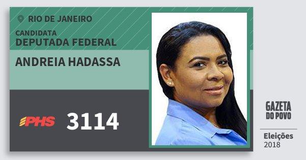 Santinho Andreia Hadassa 3114 (PHS) Deputada Federal | Rio de Janeiro | Eleições 2018