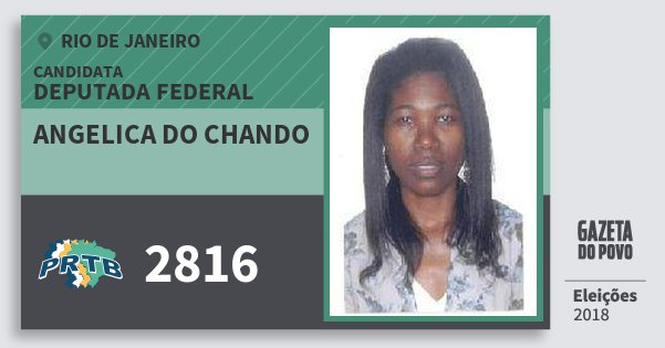 Santinho Angelica do Chando 2816 (PRTB) Deputada Federal | Rio de Janeiro | Eleições 2018