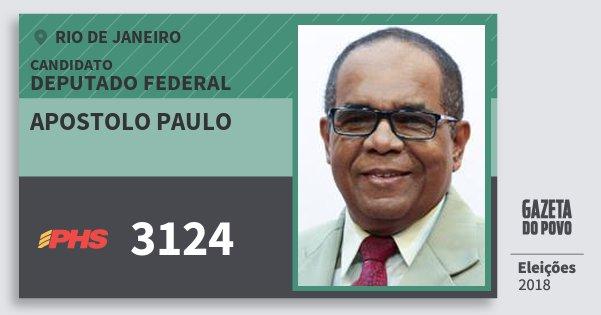 Santinho Apostolo Paulo 3124 (PHS) Deputado Federal | Rio de Janeiro | Eleições 2018