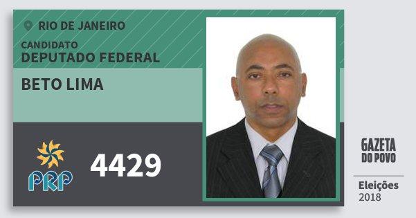 Santinho Beto Lima 4429 (PRP) Deputado Federal | Rio de Janeiro | Eleições 2018