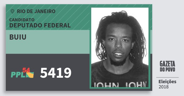 Santinho Buiu 5419 (PPL) Deputado Federal | Rio de Janeiro | Eleições 2018