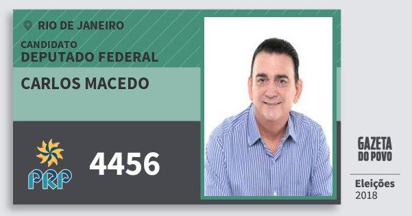 Santinho Carlos Macedo 4456 (PRP) Deputado Federal | Rio de Janeiro | Eleições 2018