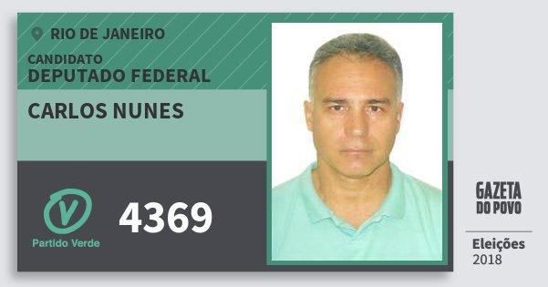 Santinho Carlos Nunes 4369 (PV) Deputado Federal | Rio de Janeiro | Eleições 2018