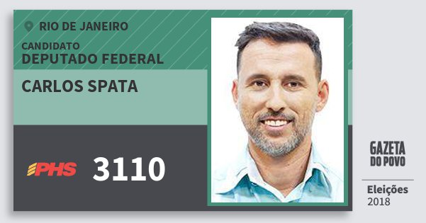 Santinho Carlos Spata 3110 (PHS) Deputado Federal | Rio de Janeiro | Eleições 2018