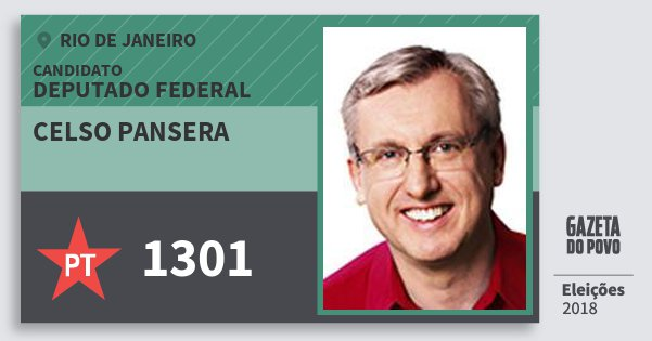 Santinho Celso Pansera 1301 (PT) Deputado Federal | Rio de Janeiro | Eleições 2018