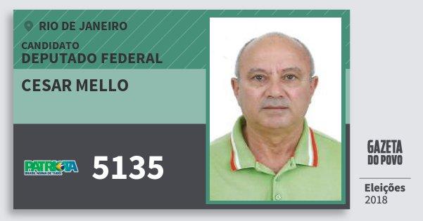 Santinho Cesar Mello 5135 (PATRI) Deputado Federal | Rio de Janeiro | Eleições 2018
