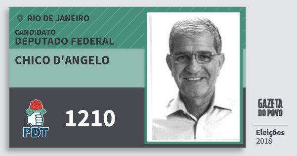 Santinho Chico d'Angelo 1210 (PDT) Deputado Federal | Rio de Janeiro | Eleições 2018