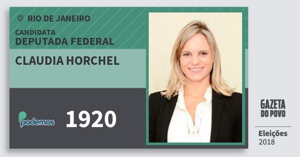 Santinho Claudia Horchel 1920 (PODE) Deputada Federal | Rio de Janeiro | Eleições 2018