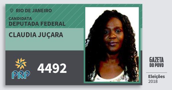 Santinho Claudia Juçara 4492 (PRP) Deputada Federal | Rio de Janeiro | Eleições 2018