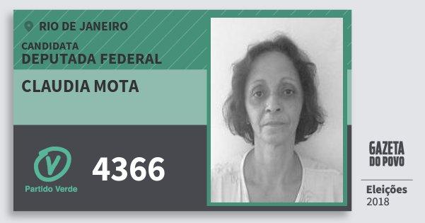 Santinho Claudia Mota 4366 (PV) Deputada Federal | Rio de Janeiro | Eleições 2018