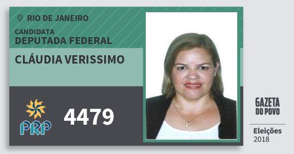 Santinho Cláudia Verissimo 4479 (PRP) Deputada Federal | Rio de Janeiro | Eleições 2018