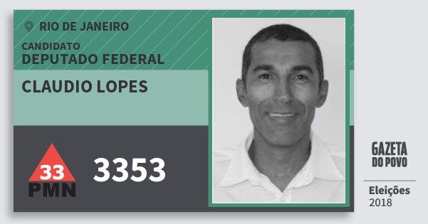 Santinho Claudio Lopes 3353 (PMN) Deputado Federal | Rio de Janeiro | Eleições 2018