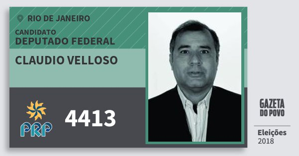 Santinho Claudio Velloso 4413 (PRP) Deputado Federal | Rio de Janeiro | Eleições 2018