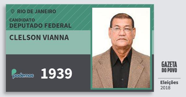 Santinho Clelson Vianna 1939 (PODE) Deputado Federal | Rio de Janeiro | Eleições 2018