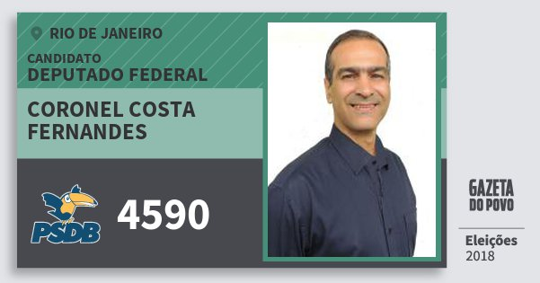 Santinho Coronel Costa Fernandes 4590 (PSDB) Deputado Federal | Rio de Janeiro | Eleições 2018