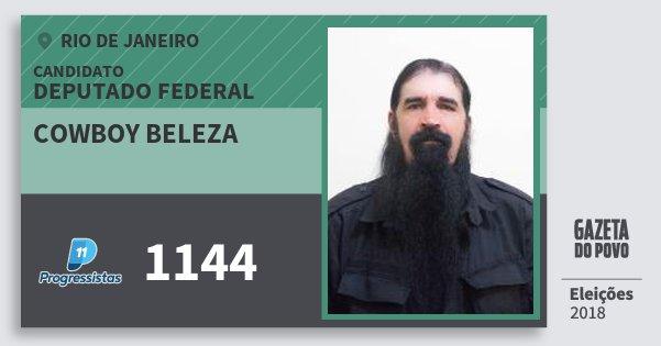 Santinho Cowboy Beleza 1144 (PP) Deputado Federal | Rio de Janeiro | Eleições 2018