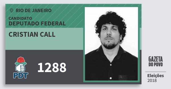 Santinho Cristian Call 1288 (PDT) Deputado Federal | Rio de Janeiro | Eleições 2018