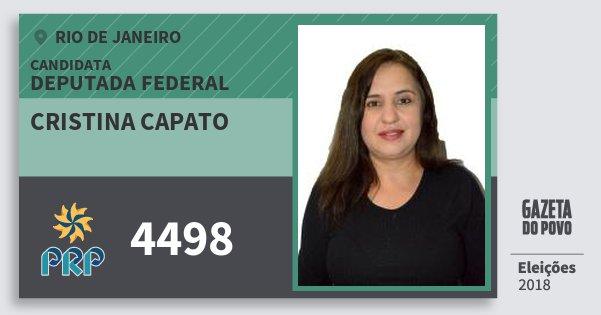 Santinho Cristina Capato 4498 (PRP) Deputada Federal | Rio de Janeiro | Eleições 2018