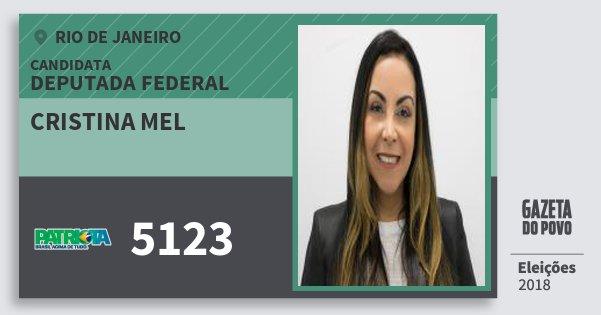 Santinho Cristina Mel 5123 (PATRI) Deputada Federal | Rio de Janeiro | Eleições 2018