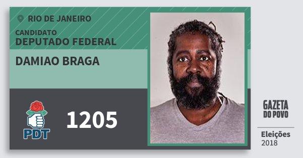 Santinho Damiao Braga 1205 (PDT) Deputado Federal | Rio de Janeiro | Eleições 2018