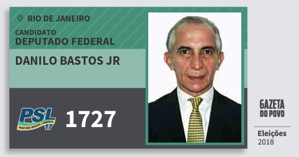 Santinho Danilo Bastos Jr 1727 (PSL) Deputado Federal | Rio de Janeiro | Eleições 2018