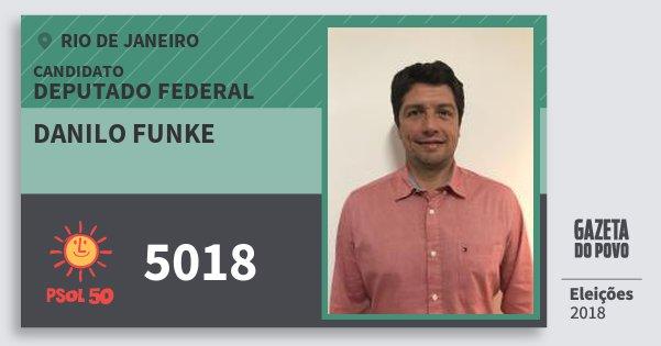 Santinho Danilo Funke 5018 (PSOL) Deputado Federal | Rio de Janeiro | Eleições 2018
