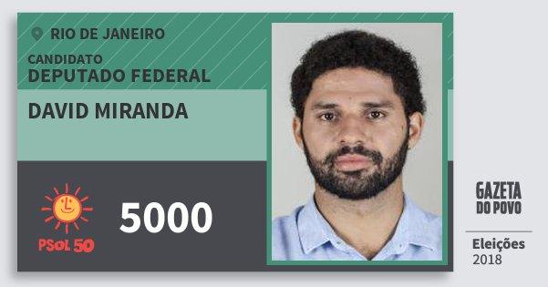 Santinho David Miranda 5000 (PSOL) Deputado Federal | Rio de Janeiro | Eleições 2018