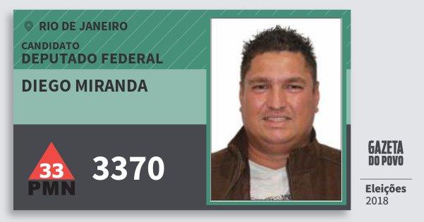 Santinho Diego Miranda 3370 (PMN) Deputado Federal | Rio de Janeiro | Eleições 2018
