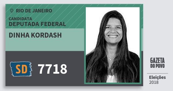 Santinho Dinha Kordash 7718 (SOLIDARIEDADE) Deputada Federal | Rio de Janeiro | Eleições 2018