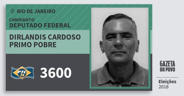Santinho Dirlandis Cardoso Primo Pobre 3600 (PTC) Deputado Federal | Rio de Janeiro | Eleições 2018