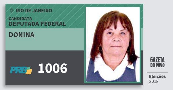 Santinho Donina 1006 (PRB) Deputada Federal | Rio de Janeiro | Eleições 2018