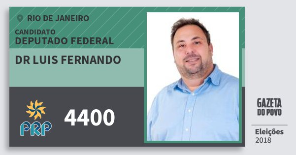 Santinho Dr Luis Fernando 4400 (PRP) Deputado Federal | Rio de Janeiro | Eleições 2018