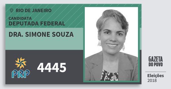 Santinho Dra. Simone Souza 4445 (PRP) Deputada Federal   Rio de Janeiro   Eleições 2018