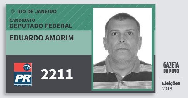 Santinho Eduardo Amorim 2211 (PR) Deputado Federal | Rio de Janeiro | Eleições 2018